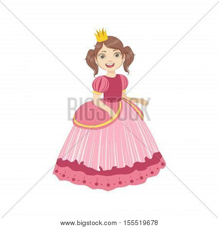 Little Girl With Ponytails Dressed As Fairy Tale Princess. Cute Flat Child Character In Bright Colored Clothes Isolated On White Background