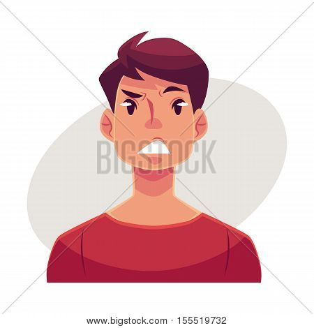 Young man face, upset, confused facial expression, cartoon vector illustrations isolated on gray background. Handsome boy feeling upset, concerned, confused frustrated.