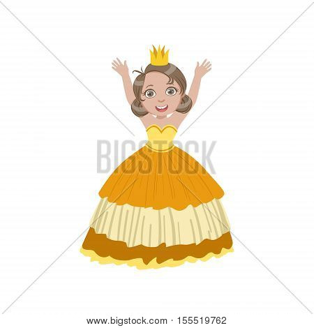Little Girl In Sleeveless Yellow Dress Dressed As Fairy Tale Princess. Cute Flat Child Character In Bright Colored Clothes Isolated On White Background