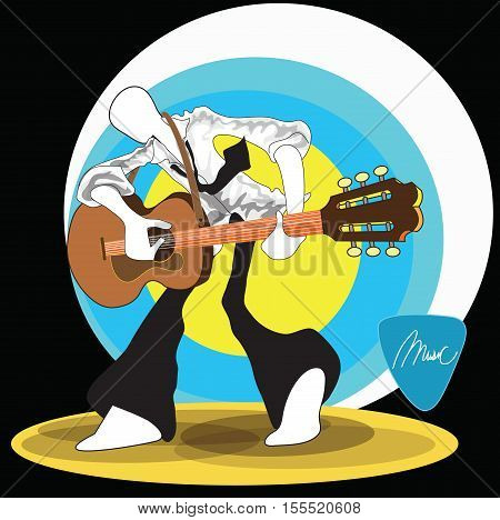 Shadow Man playing guitar rock folk acoustic unplug and dancing relax time from office hour can use advertise illustration logo symbol graphic design and clipping path.