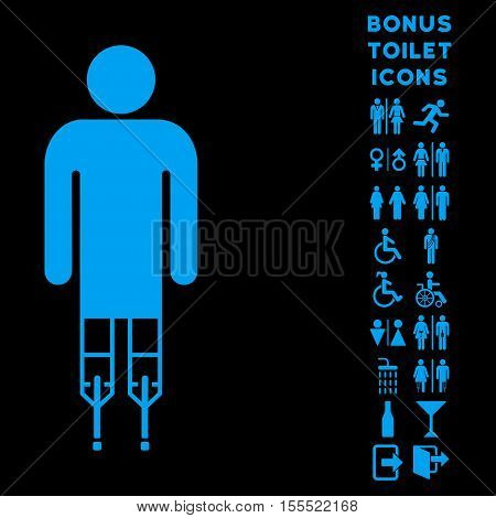 Man Crutches icon and bonus gentleman and woman toilet symbols. Vector illustration style is flat iconic symbols, blue color, black background.