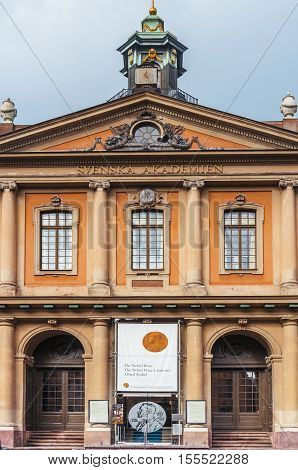 Stockholm Sweden - March 29 2016: Building of Swedish Academy (Svenska Akademien) and Nobel Museum in Stockholm. Swedish academy Stockholm.