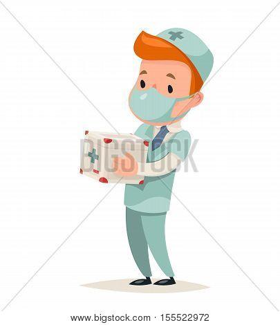 Transplant Surgeon Hold Portable Organ Refrigerator Doctor Character Icon Medic Retro Cartoon Vector Illustration