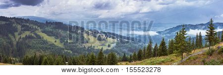 Bucovina panorama. Mountains landscape from Bucovina Romania. Mountain landscape panorama. Carpathian mountains landscape. Summer landscape in the mountains.