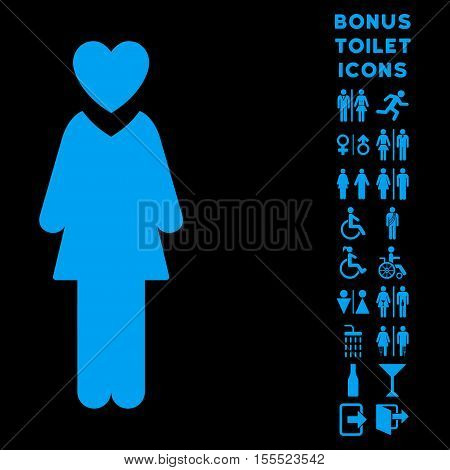 Mistress icon and bonus male and woman WC symbols. Vector illustration style is flat iconic symbols, blue color, black background.