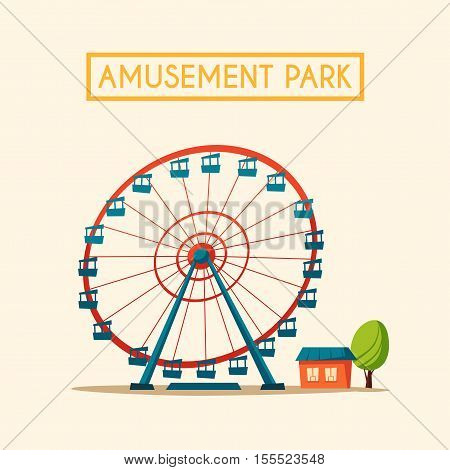 Amusement park theme. Cartoon vector illustration. Vintage style. Icon. Funfair. Good emotions Ferris wheel