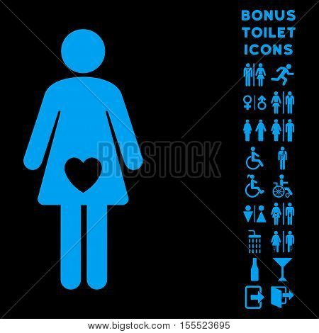 Mistress icon and bonus male and woman restroom symbols. Vector illustration style is flat iconic symbols, blue color, black background.