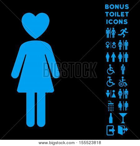 Mistress icon and bonus man and female WC symbols. Vector illustration style is flat iconic symbols, blue color, black background.