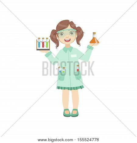 Girl Dressed As Chemist Holding Test Tubes. Child Dream Future Profession Cute Colorful Illustration Isolated On White Background.