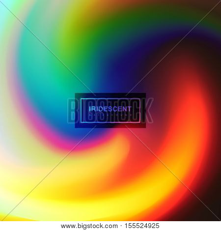 Fluid iridescent multicolored background. Vector illustration of iridescent rainbow fluids. Holographic neon whirlpool effect. Applicable for flyer, banner, poster, brochure, cover. Spectrum colors
