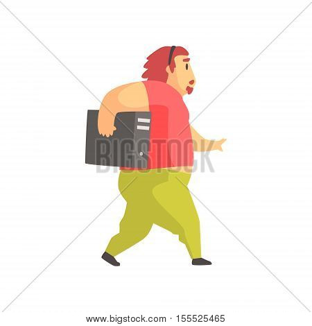 Programmer Walking Holding System Unit Funny Character. Graphic Design Cool Geometric Style Isolated Drawing On White Background