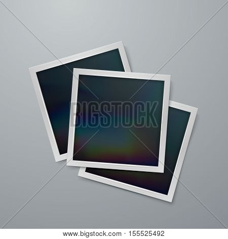 Photo frames mock-up. Vector illustration of Realistic iridescent photo frame on textured paper. Vector mock up