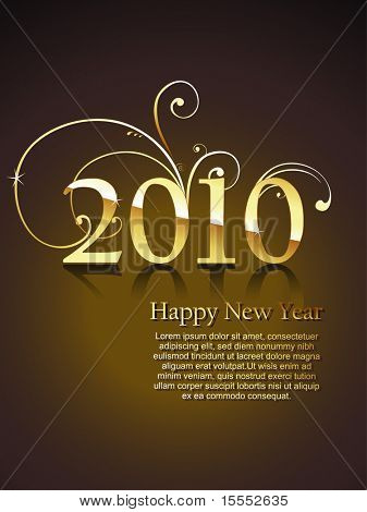 vector new year 2010 beautiful gold design