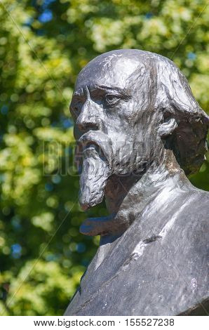 KARABIKHA, RUSSIA - JUNE, 28, 2016: The monument to the famous Russian poet Nikolay Alekseevich Nekrasov on the territory of Nekrasov museum in Karabikha, which is located in a village in Yaroslavl oblast.