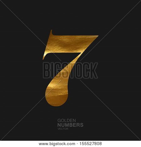 Golden number 7. Typographic vector element for design. Part of glow golden painted alphabet. Digit seven with golden paint texture. Vector illustration