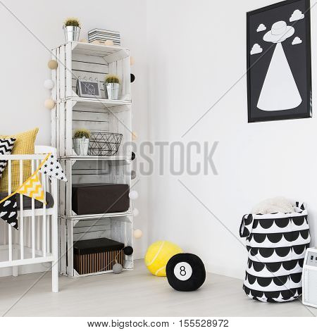 Shot of a modern baby room in scandi style