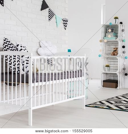Shot of a spacious white children's room