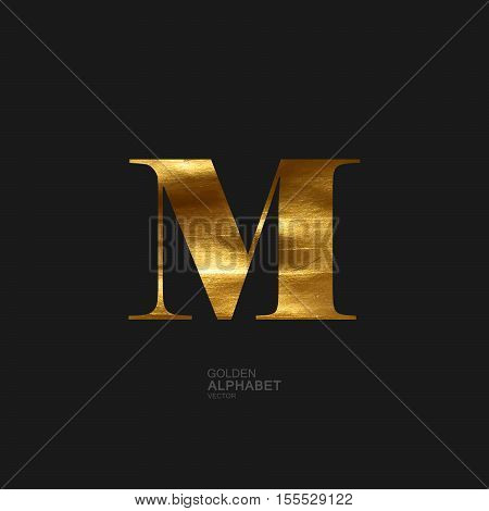 Golden Letter M. Typographic vector element for design. Part of glow golden painted alphabet. Letter M with golden paint texture. Vector illustration
