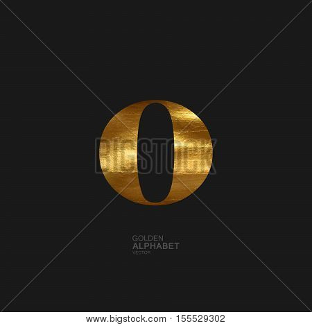 Golden Letter O. Typographic vector element for design. Part of glow golden painted alphabet. Letter O with golden paint texture. Vector illustration