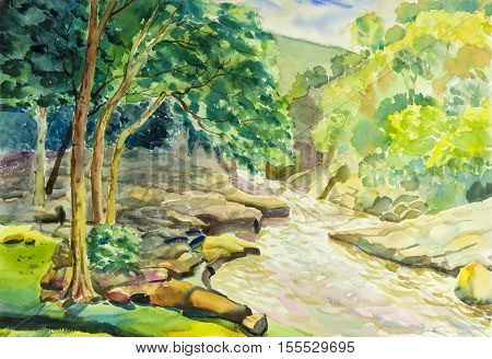 Watercolor landscape original painting colorful of river mountain and green leaves in blue background