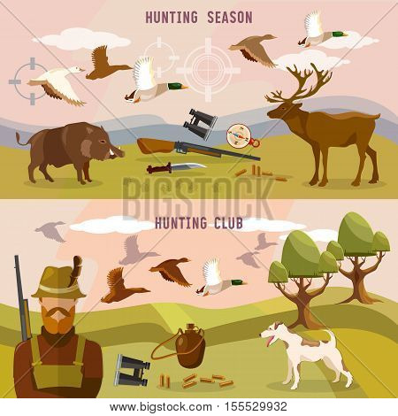 Hunting banners professional hunting club duck hunting binoculars hunting season vector illustration
