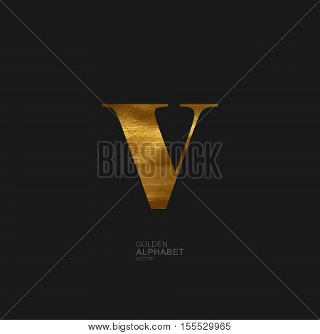 Golden Letter V. Typographic vector element for design. Part of glow golden painted alphabet. Letter V with golden paint texture. Vector illustration