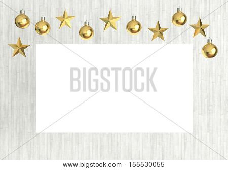 Blank poster with hanging golden balls and stars ornaments on white wooden background. For new year or christmas theme. 3D rendering.
