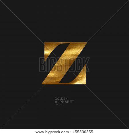 Golden Letter Z. Typographic vector element for design. Part of glow golden painted alphabet. Letter Z with golden paint texture. Vector illustration