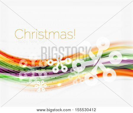 Blurred wave line with snowflakes. Christmas message presentation template, vector abstract background