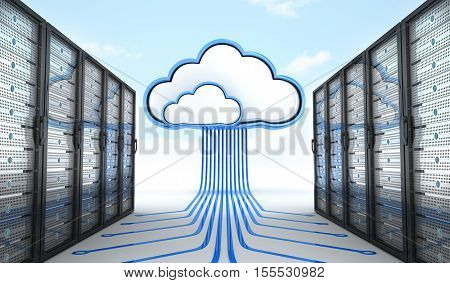 Modern server and connect cloud. 3d illustration