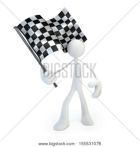 Abstract man and checkered flag on white