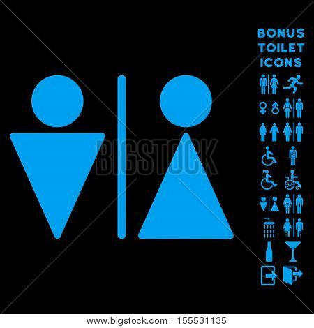 WC Persons icon and bonus gentleman and woman lavatory symbols. Vector illustration style is flat iconic symbols, blue color, black background.