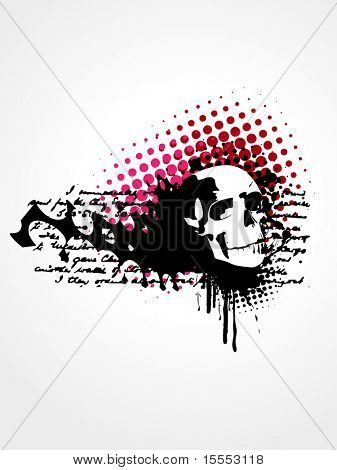 vector skull grunge art background
