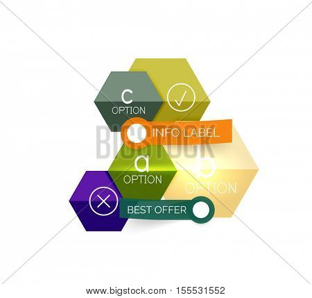 Geometric business infographics templates. Vector illustration with sample text and options