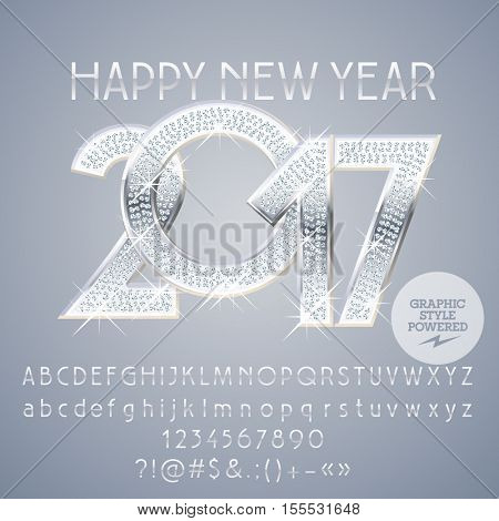 Vector silver chic Happy New Year 2017 greeting card with set of letters, symbols and numbers. File contains graphic styles