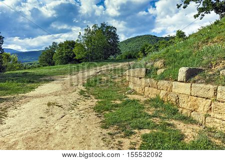 Chetinyova mound and Sredna gora mountain in archeological site of Starosel, Plovdiv Region, Bulgaria