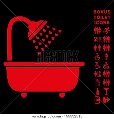 Bath Shower icon and bonus man and female lavatory symbols. Vector illustration style is flat iconic symbols, red color, black background.