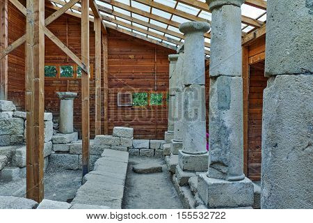 Antique columns in  archeological site of Starosel, Plovdiv Region, Bulgaria