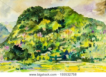 Watercolor painting original landscape colorful of village hill in sky and cloud background