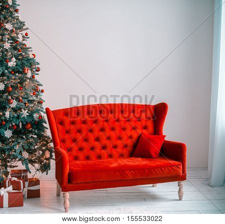 Beautiful Background Christmas Living Room With Decorated Christmas Tree, Couch And Gifts.  The Idea