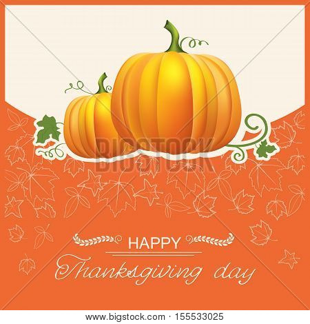 Thanksgiving Day Autumn Card With Yellow Pumpkins