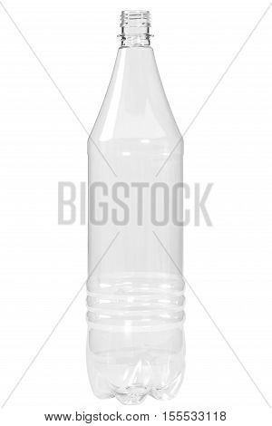 New, clean, empty plastic bottle isolated on white background,