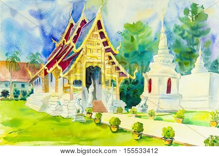 Religion painting colorful of pagoda in temple and blue background Watercolor original painting