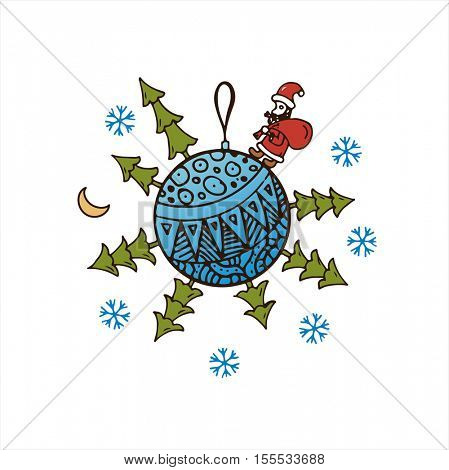 Blue Christmas ball with Christmas trees, Santa Claus, snowflakes and gifts. Vector logo for the cards and greetings on the 2017 New Year