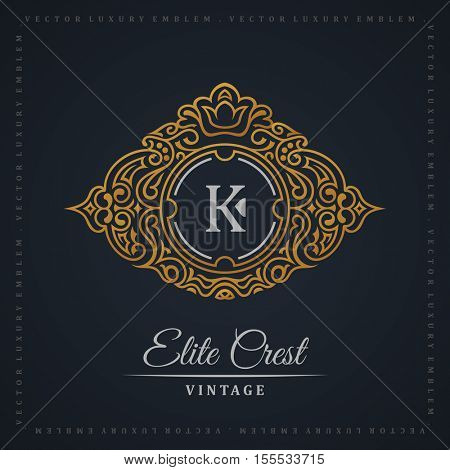 Vintage gold logo. Flourishes crest calligraphic ornament. Elegant emblem monogram luxury logo. Floral royal line logo design. Vector crest logo restaurant boutique, heraldic fashion, cafe hotel
