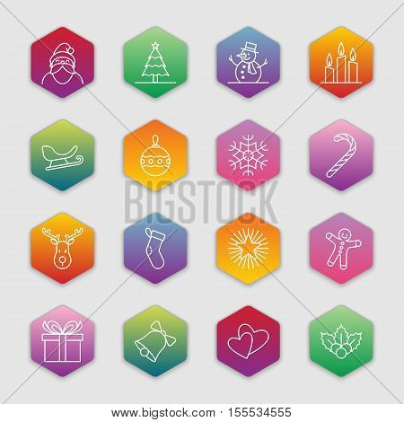 Christmas and new year icon set vector illustration - white outline on colorful gradient hexagon