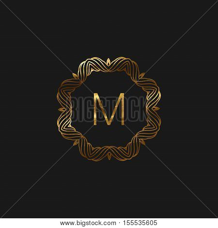 Vector floral monogram frame. Art-deco golden frame with paint texture. Line art element for design