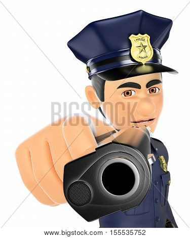3d security forces people illustration. Policeman pointing a gun in front. Isolated white background.
