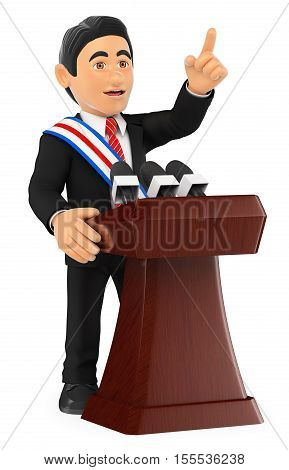 3d business people illustration. Politician giving a speech of investiture. President. Isolated white background.