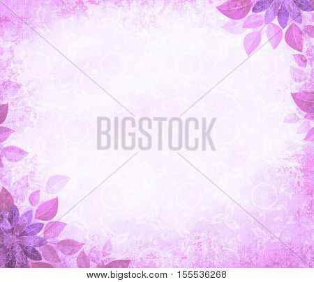 Background grunge with flower corners purple. The basis for design or the text on a rough cloth in ancient style.